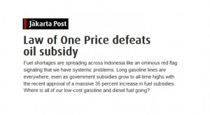 Law of One Price defeats oil subsidy